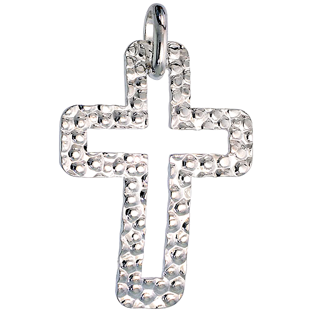 Sterling Silver Cross Necklace with 24 inch Surgical Steel Chain Italy, 1 1/2 inch