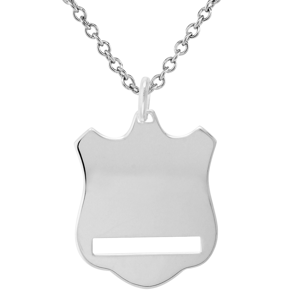 Sterling Silver Shield pendant Necklace for Engraving 1 1/16 inch Italy