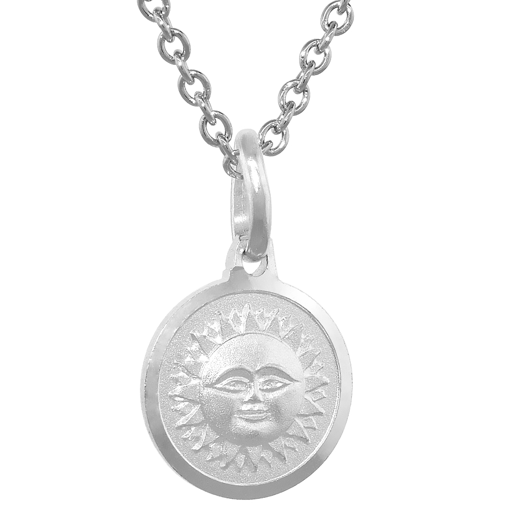 Dainty Sterling Silver Sun & Moon Reversible Medal Necklace 5/8 inch Round Italy,