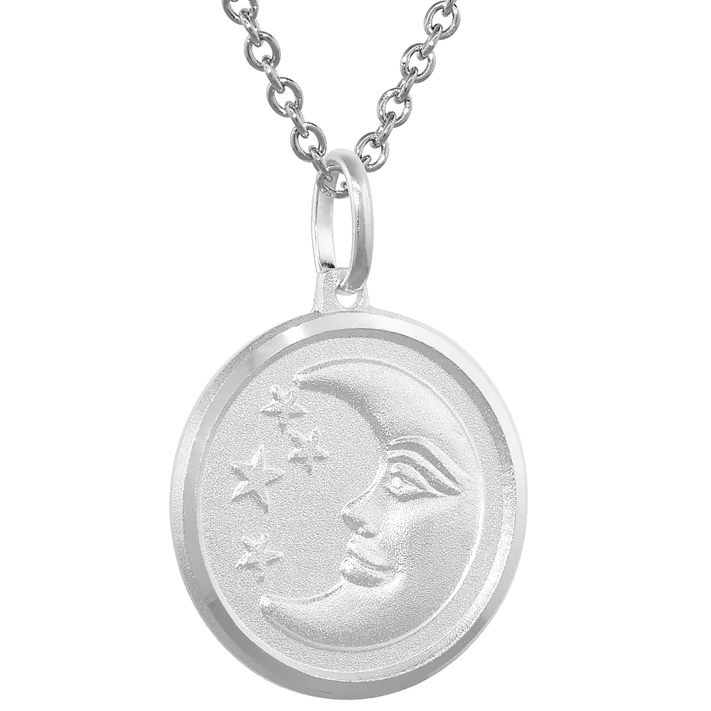 Sterling Silver Moon and Stars Medal Necklace 3/4 inch Round Italy,