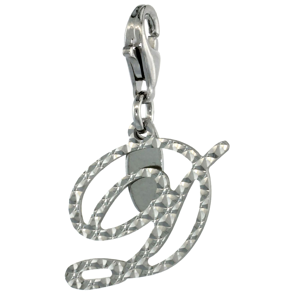 Sterling Silver Alphabet Pendant Script Initial D Charm with Lobster Clasp Diamond Cut Women Italy 3/4 inch