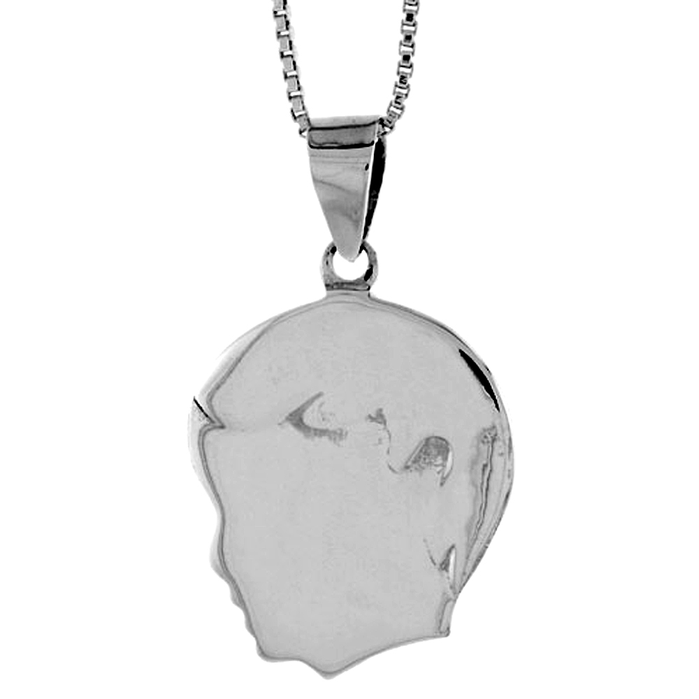 Sterling Silver Flat Boy's Head Pendant Hollow Italy 13/16 inch (21 mm) Tall