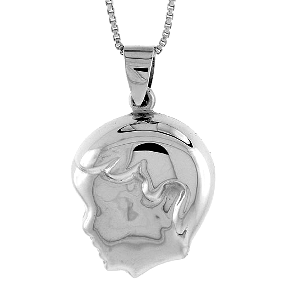 Sterling Silver Puffed Boy's Head Pendant Hollow Italy 13/16 inch (21 mm) Tall