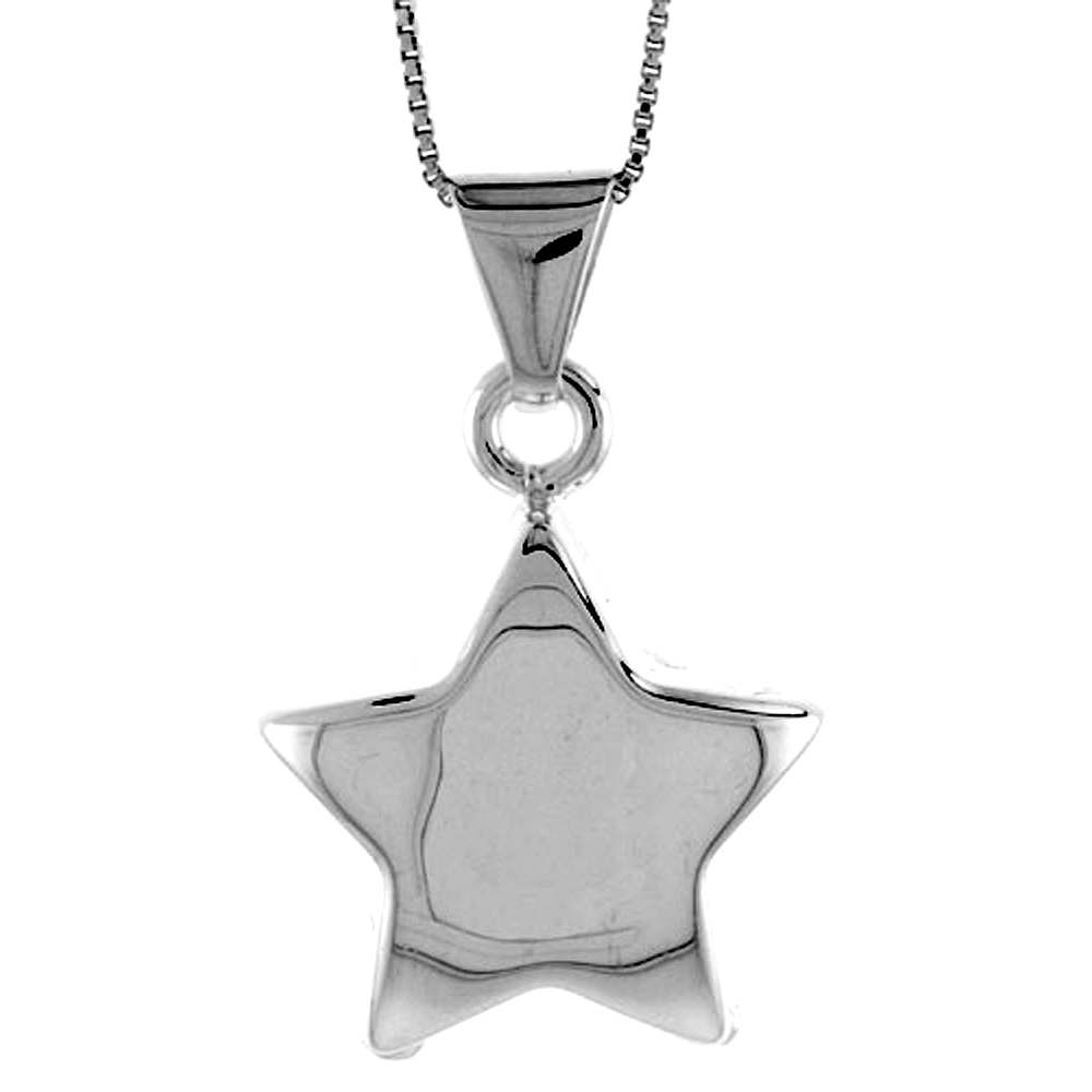 Sterling Silver Large Star Pendant Hollow Italy 1 1/16 inch (27 mm) Tall