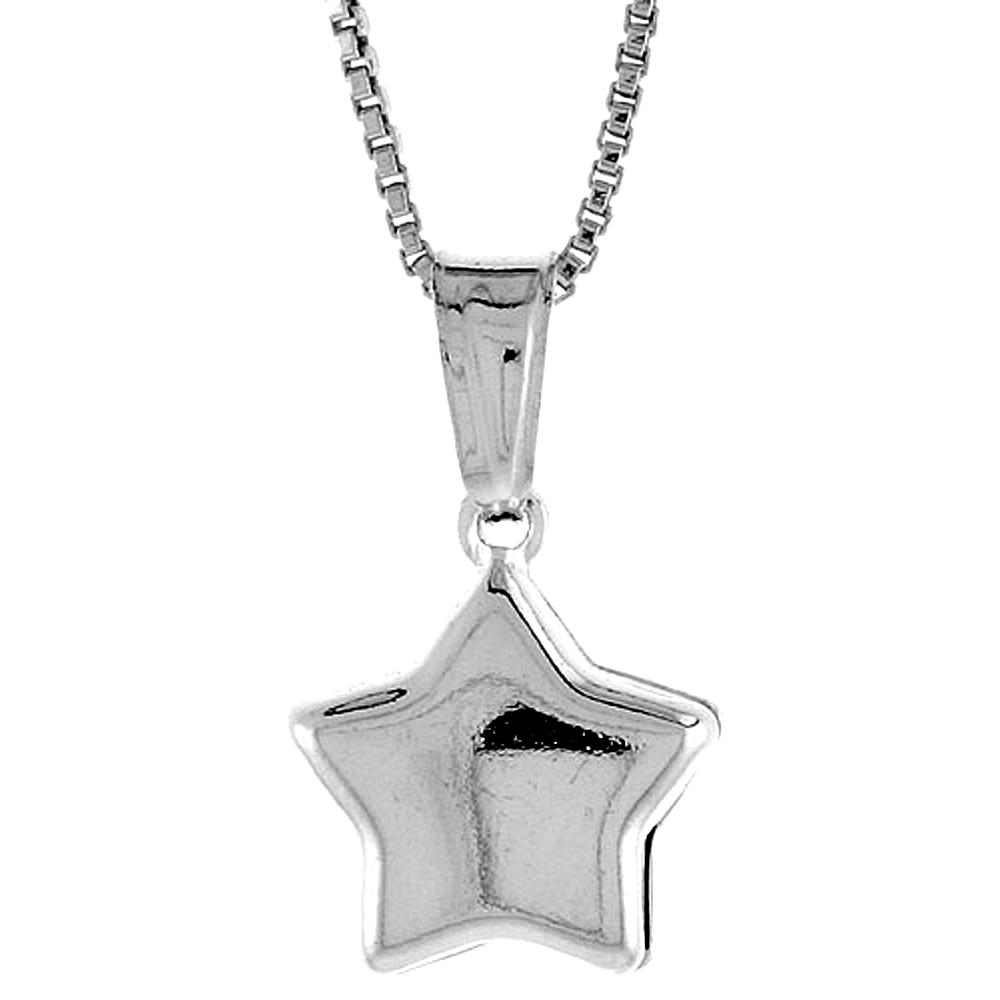 Sterling Silver Small Star Pendant Hollow Italy 7/16 inch (11 mm) Tall