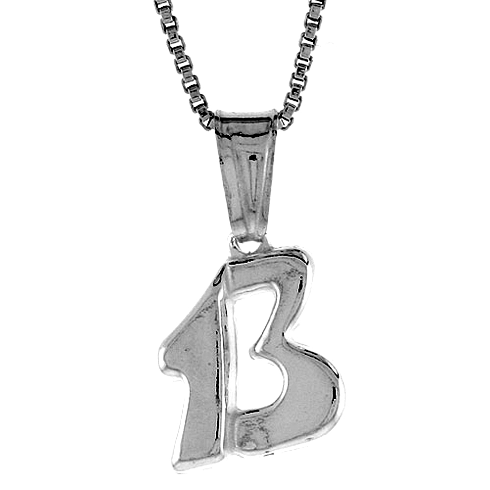 Sterling Silver Lucky 13 Pendant Hollow Italy 5/8 inch (16 mm) Tall