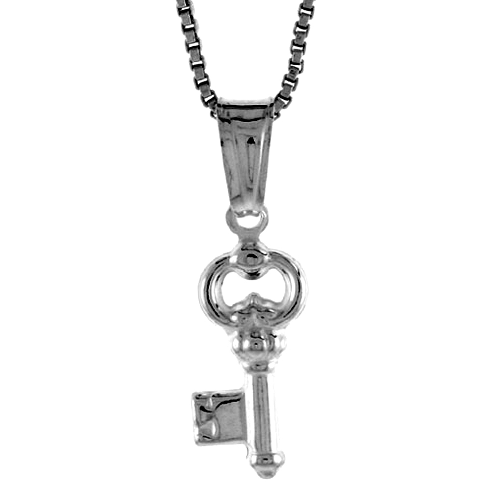 Sterling Silver Small Key Pendant Hollow Italy 1/2 inch (13 mm) Tall