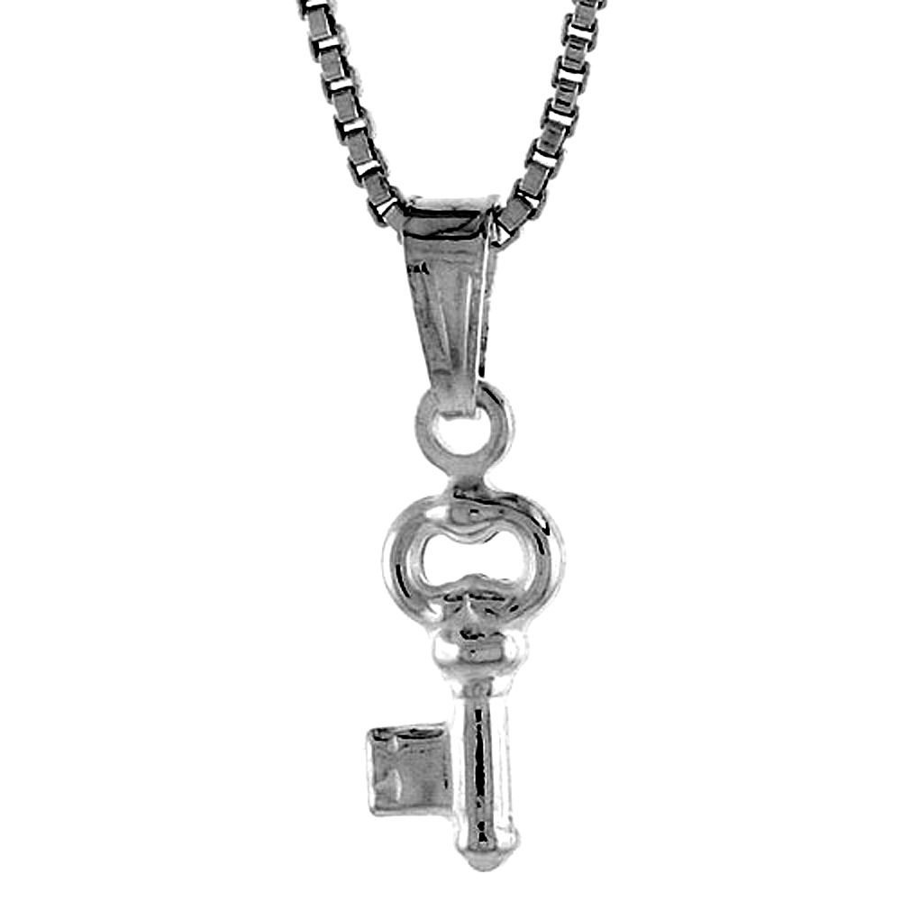 Sterling Silver Teeny Key Pendant Hollow Italy 3/8 inch (9 mm) Tall