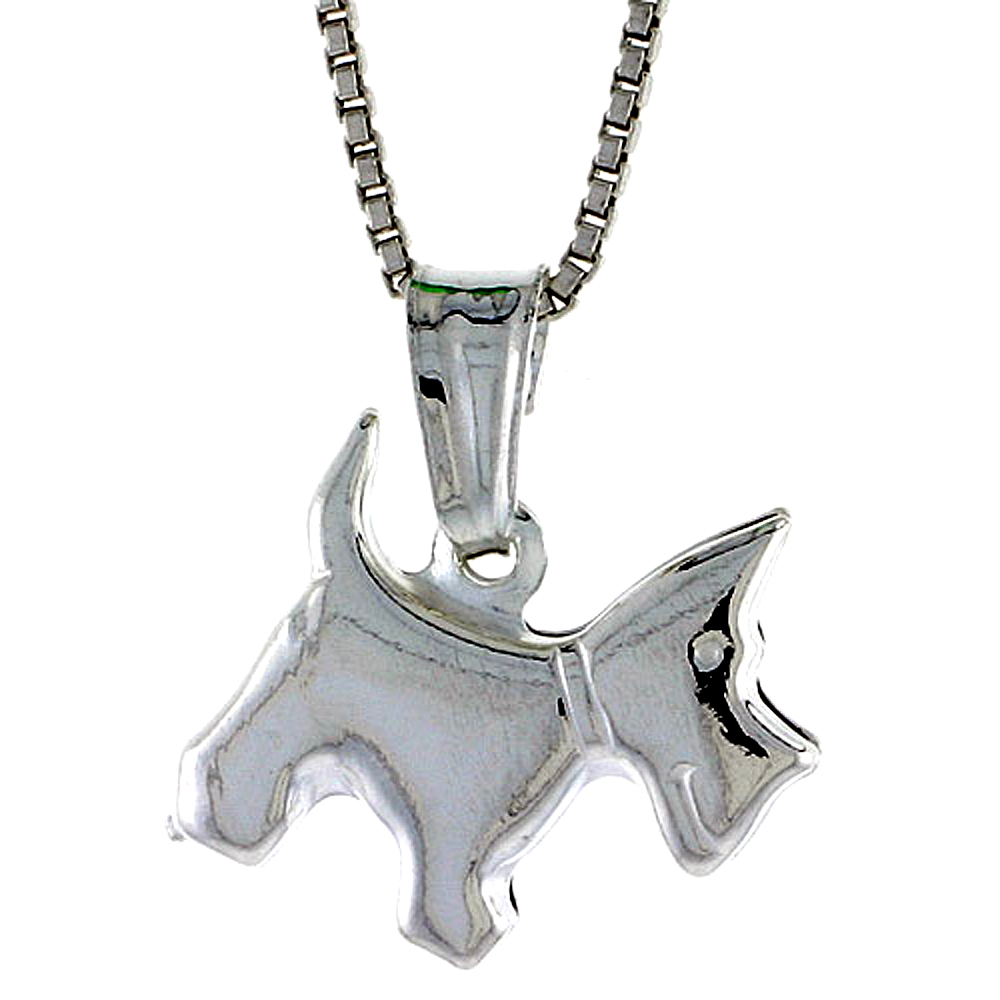 Sterling Silver Small Dog Pendant Hollow Italy 1/2 inch Tall