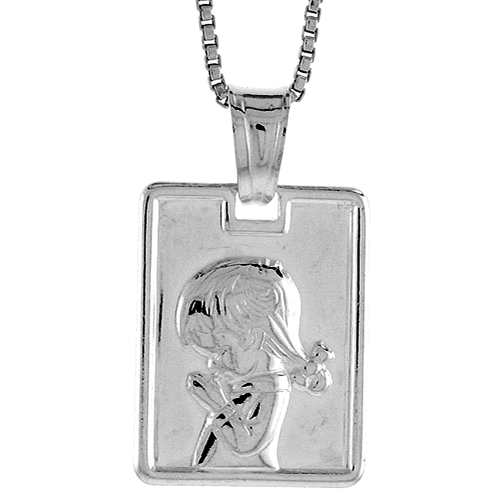 Sterling Silver Girl Pendant Hollow Italy 5/8 inch (17 mm) Tall