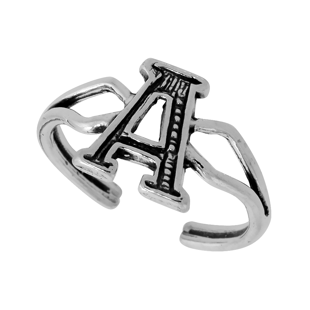 Sterling Silver Initial Letter A Alphabet Toe Ring / Baby Ring, Adjustable sizes 2.5 to 5, 3/8 inch wide