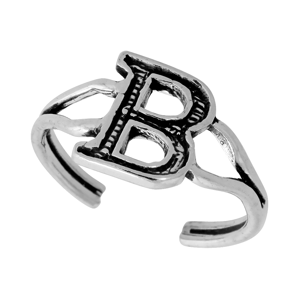 Sterling Silver Initial Letter B Alphabet Toe Ring / Baby Ring, Adjustable sizes 2.5 to 5, 3/8 inch wide