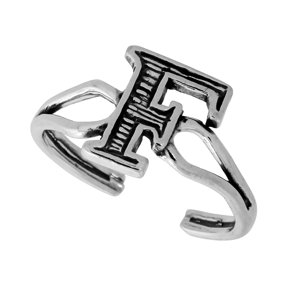 Sterling Silver Initial Letter F Alphabet Toe Ring / Baby Ring Adjustable sizes 2.5 to 5 3/8 inch wide