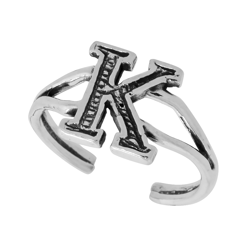 Sterling Silver Initial Letter K Alphabet Toe Ring / Baby Ring Adjustable sizes 2.5 to 5 3/8 inch wide