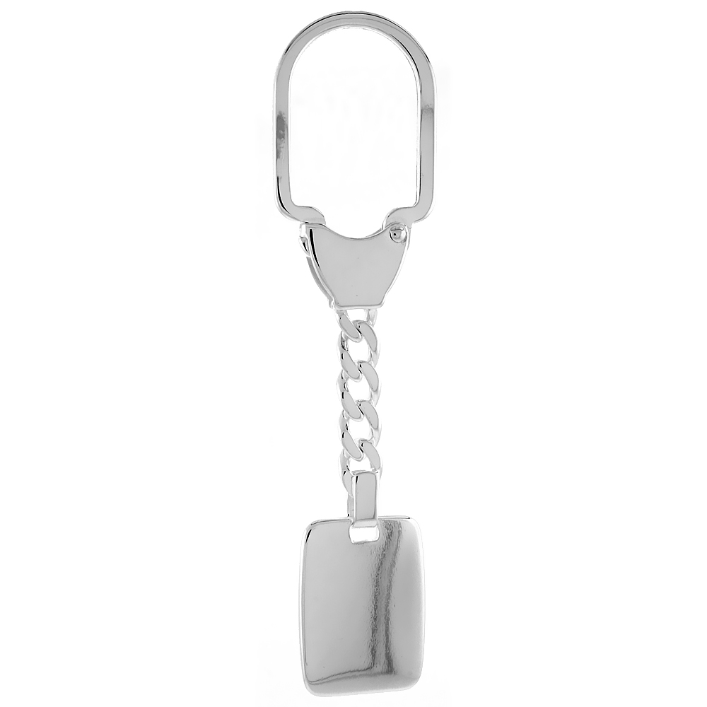 Sterling Silver Monogram Keychain with Plain Engraveable Rectangular Tag Key chain Italy 3 1/2 inch