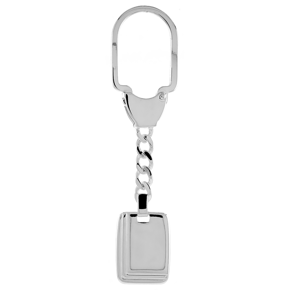 Sterling Silver Keychain Rectangular Tag Grooved Edges, 3 1/2 inches long