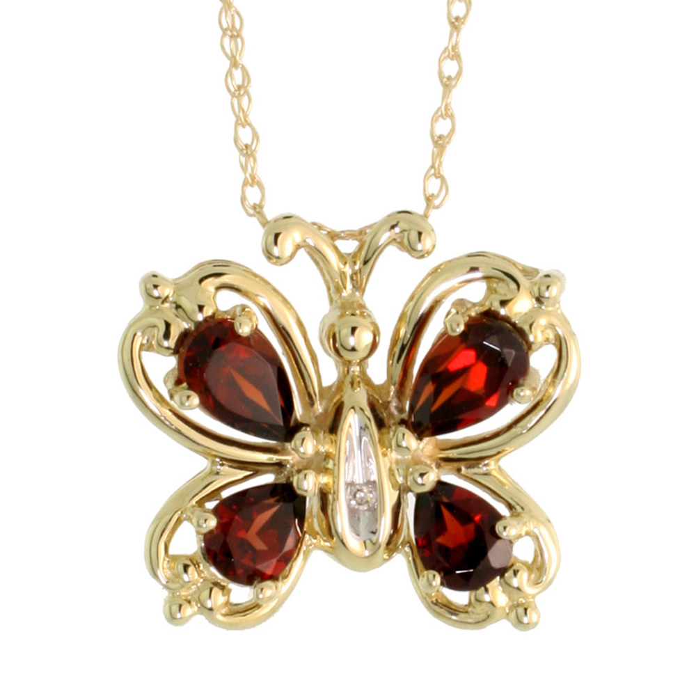10k Yellow Gold Butterfly Necklace Diamond and Garnet Stones Pear shape, 18 inch long