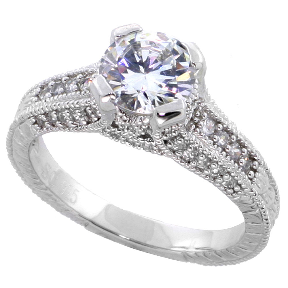 Sterling Silver Vintage Style Cubic Zirconia Engagement Ring 1.25 ct Round Center, sizes 6-9