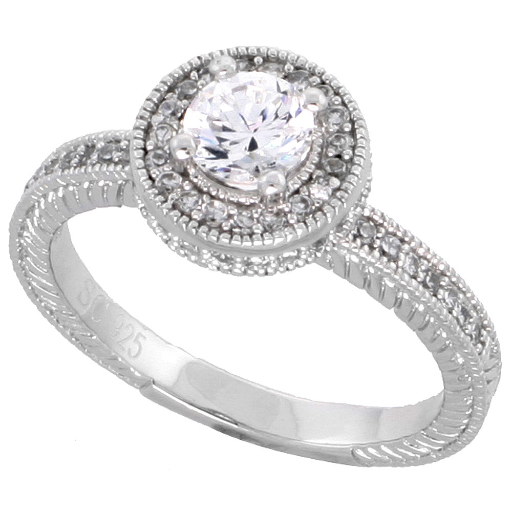 Sterling Silver Vintage Style Cubic Zirconia Engagement Ring 1/2 ct Round Center, sizes 6-9