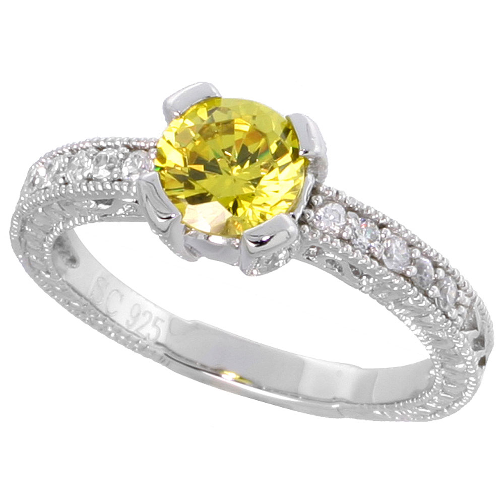 Sterling Silver Vintage Style Citrine Cubic Zirconia Engagement Ring Round 1 ct Center, sizes 6-9