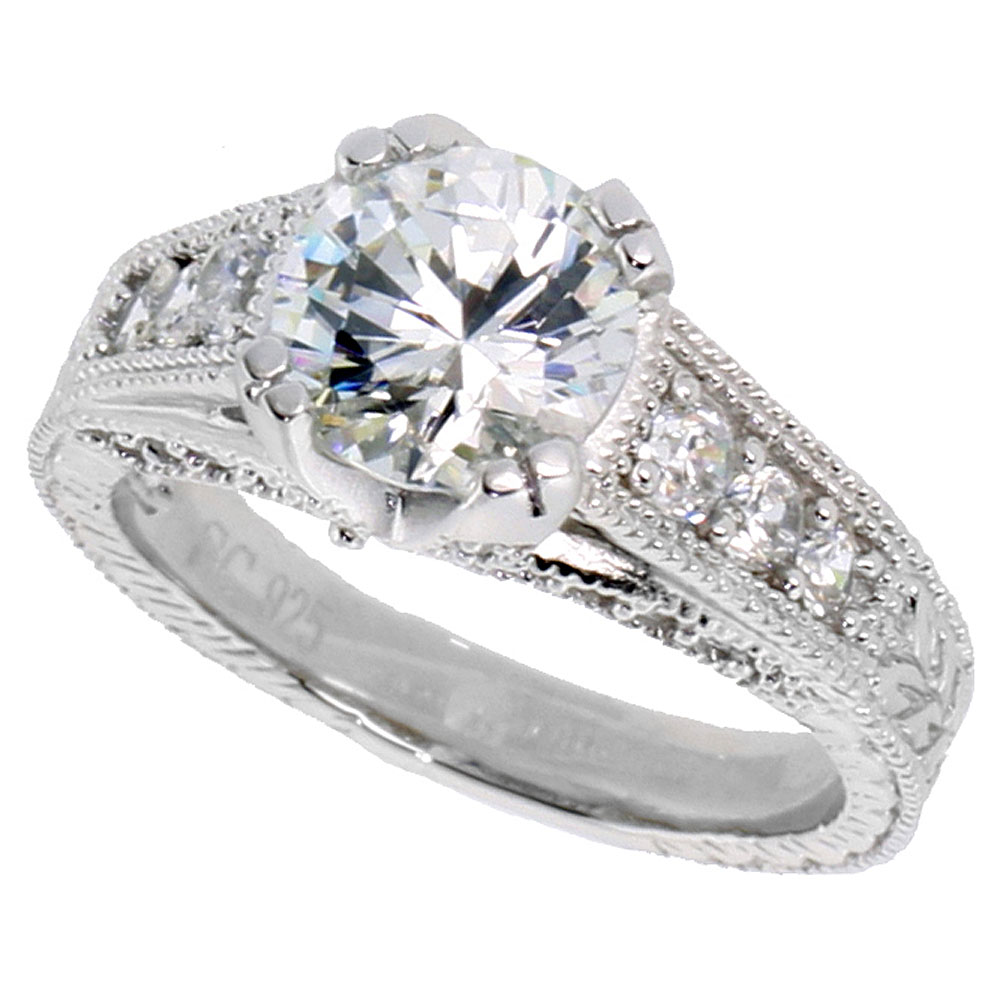 Sterling Silver Vintage Style Cubic Zirconia Engagement Ring Round 2 ct Center 3/8 inch wide, sizes 6-9
