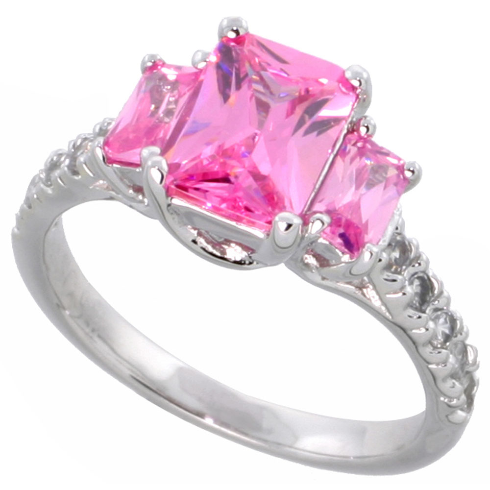 Sterling Silver Pink Cubic Zirconia Engagement Ring Emerald Cut 1/12 ...
