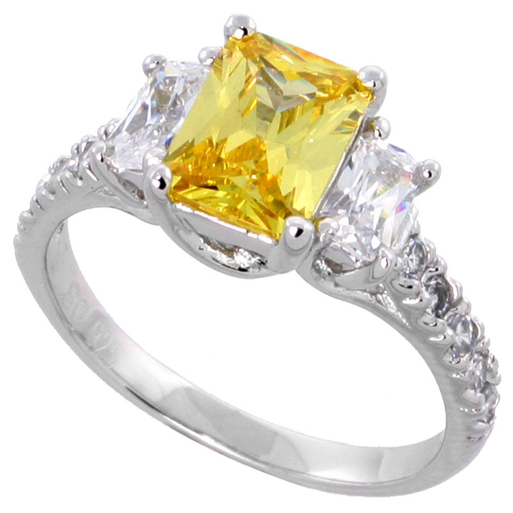 Sterling Silver Citrine Cubic Zirconia Engagement Ring Emerald Cut 1/12 ct center � ct Sides, sizes 6-9
