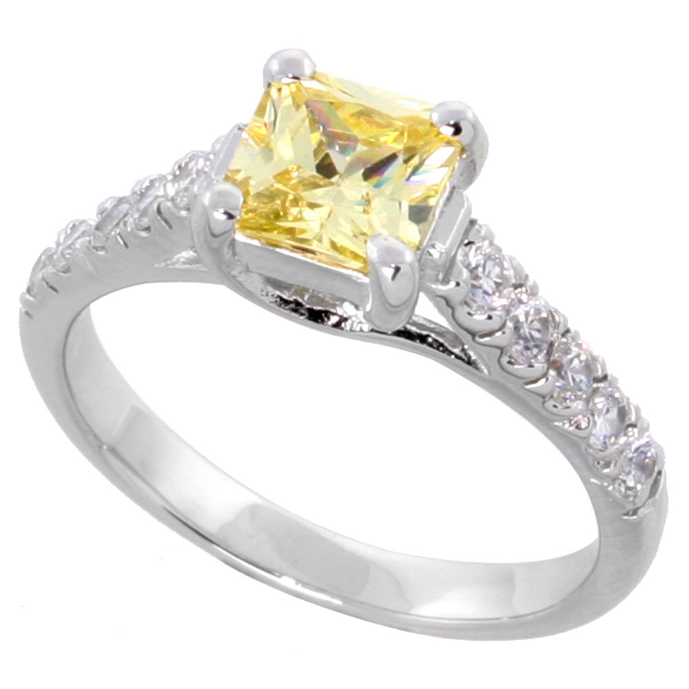 Sterling Silver Citrine Cubic Zirconia Engagement Ring 1.25 ct Princess Cut cntr, sizes 6-9