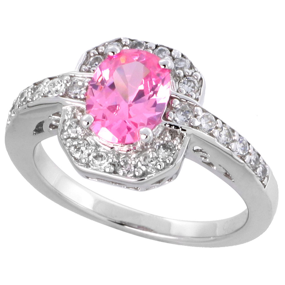 Sterling Silver Vintage Style Pink Cubic Zirconia Halo Engagement Ring Oval Cut 1 � ct center, sizes 6-9