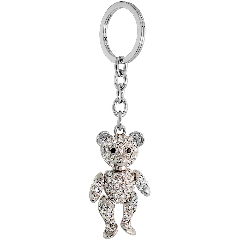 "Movable Teddy Bear Key Chain, Key Ring, Key Holder, Key Tag , Key Fob, w/ Brilliant Cut Clear & Black Swarovski Crystals, 4-1/2"" tall"
