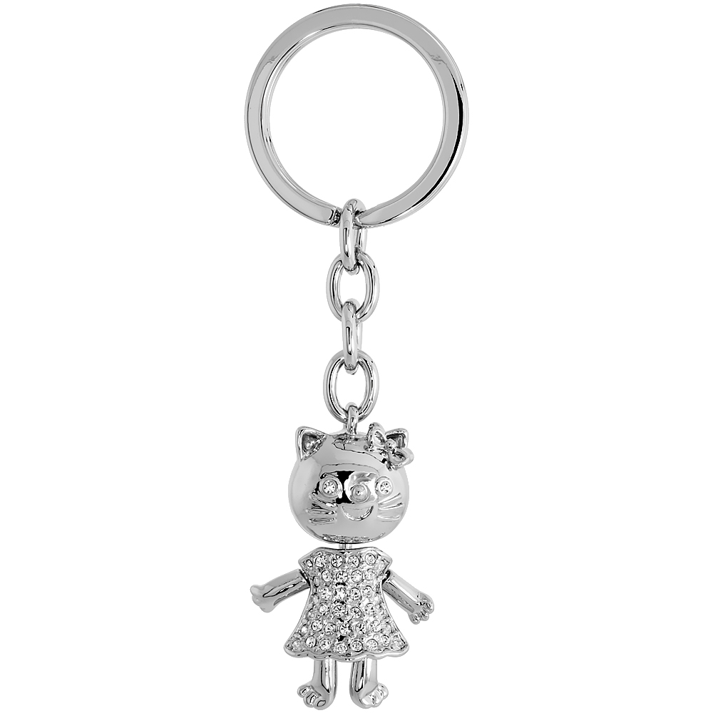 "Movable Kitty Cat Key Chain, Key Ring, Key Holder, Key Tag , Key Fob, w/ Brilliant Cut Swarovski Crystals, 3-3/4"" tall"