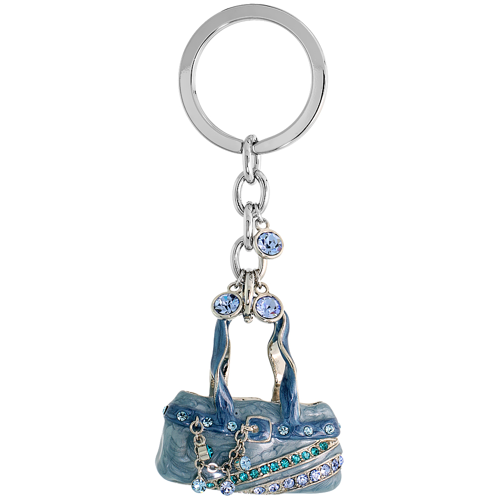 "Blue Purse Hand Bag Key Chain, Key Ring, Key Holder, Key Tag , Key Fob, w/ Brilliant Cut Blue Topaz-color & Aquamarine-color Swarovski Crystals, 4"" tall"