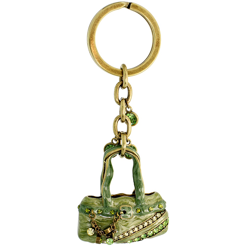 "Green Purse Hand Bag Key Chain, Key Ring, Key Holder, Key Tag , Key Fob, w/ Brilliant Cut Peridot-color & Yellow Topaz-color Swarovski Crystals, 4"" tall"