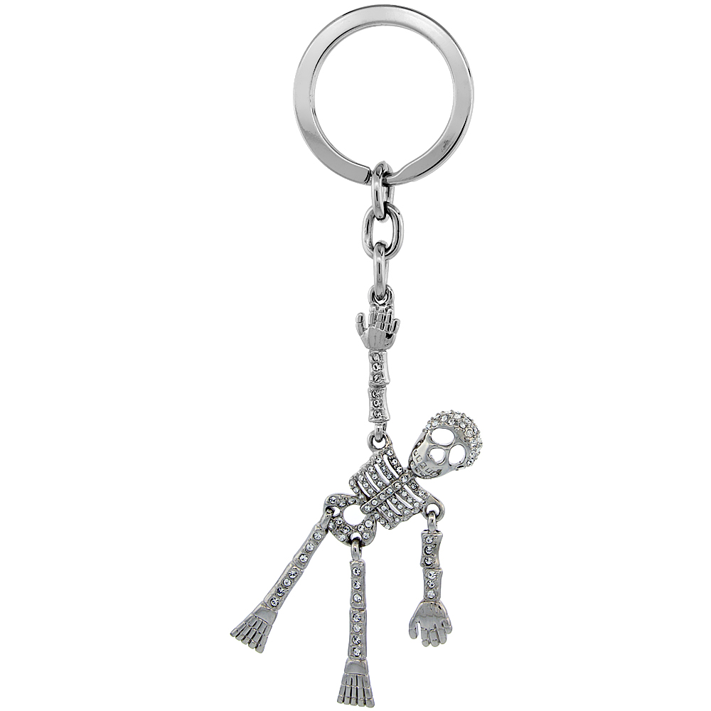 "Movable Human Skeleton Key Chain, Key Ring, Key Holder, Key Tag , Key Fob, w/ Brilliant Cut Swarovski Crystals, 5"" tall"
