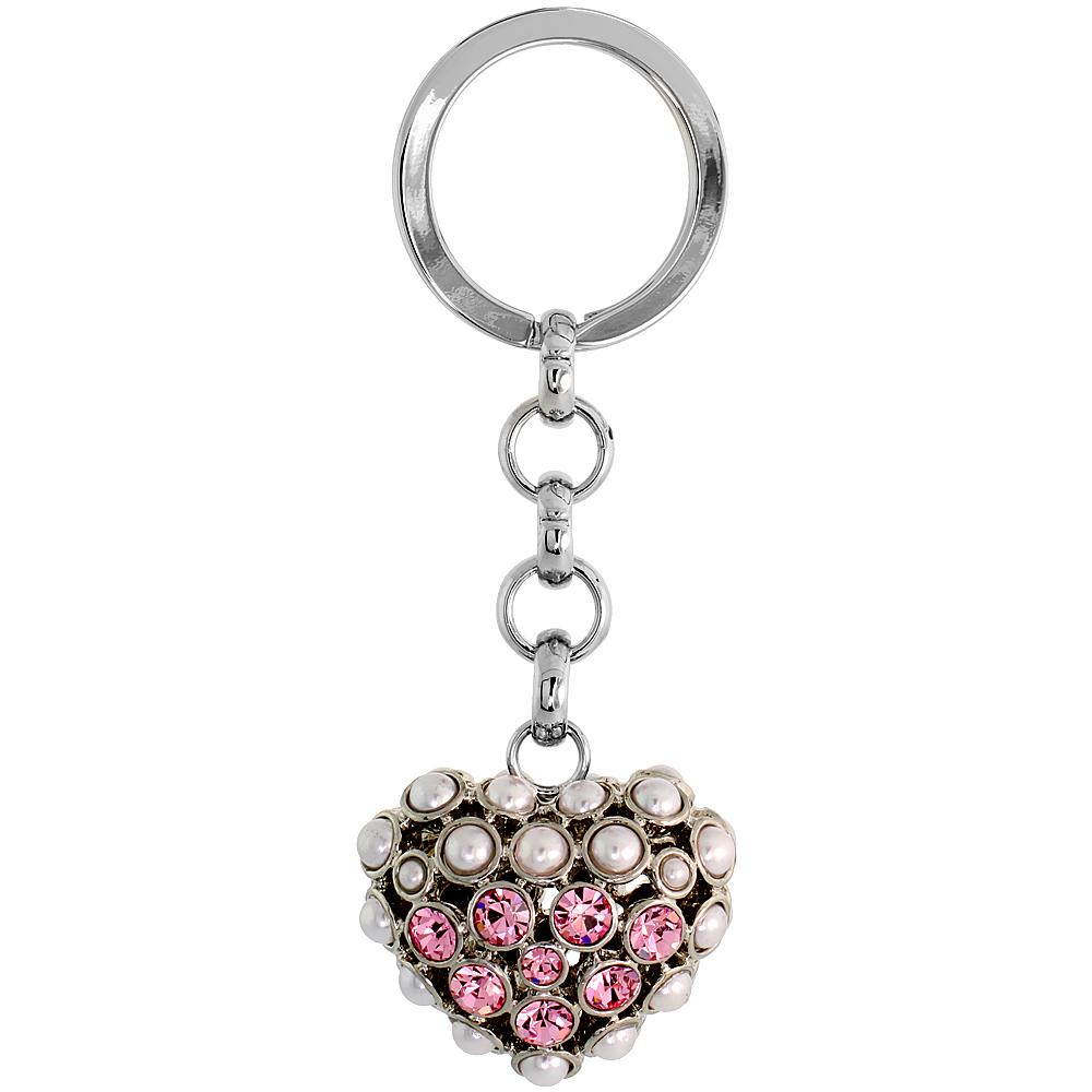 "Puffed Heart Key Chain, Key Ring, Key Holder, Key Tag , Key Fob, w/ Beads & Brilliant Cut Pink Topaz-color Swarovski Crystals, 3-1/2"" tall"