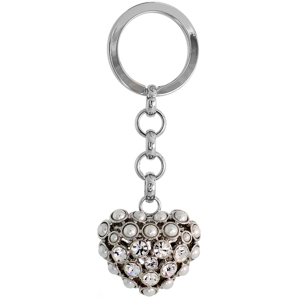 """Puffed Heart Key Chain, Key Ring, Key Holder, Key Tag , Key Fob, w/ Beads & Brilliant Cut Swarovski Crystals, 3-1/2"""" tall"""