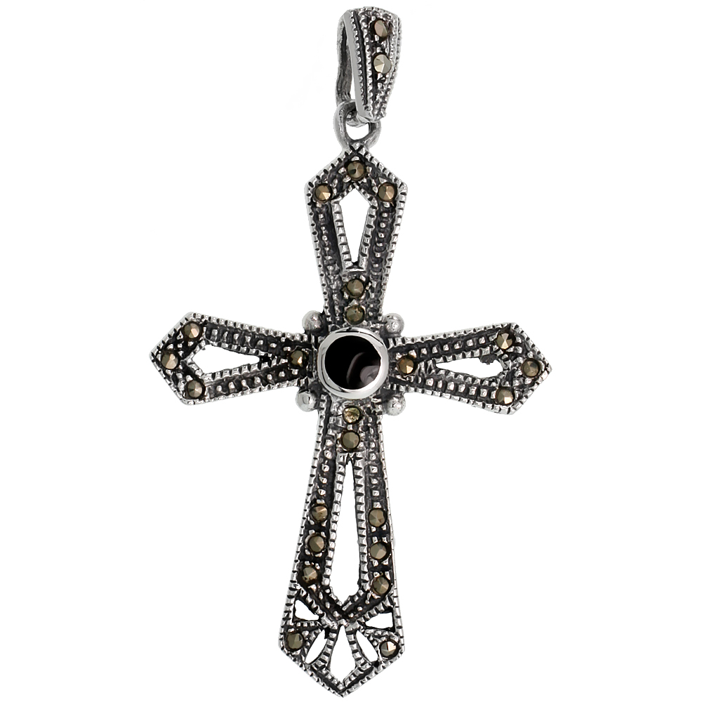 "Sterling Silver Marcasite Cross Pendant, w/ Round Jet Stone inlay, 2"" (51 mm) tall"
