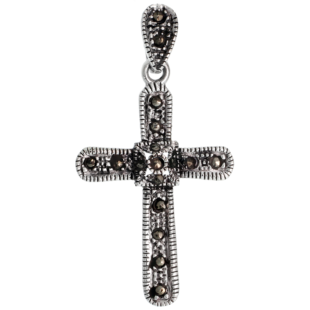 "Sterling Silver Marcasite Quadrate Cross Pendant, w/ Rope Edges, 1 7/16"" (37 mm) tall"