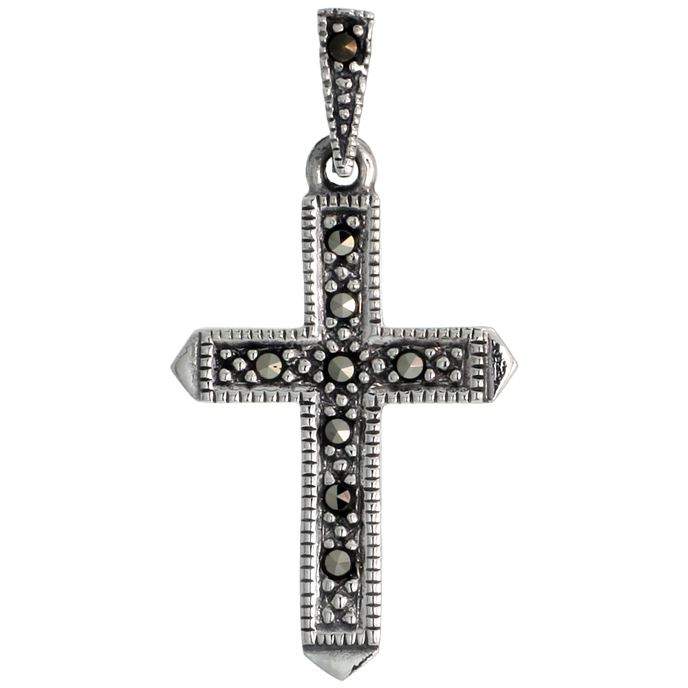 "Sterling Silver Marcasite Passion Cross Pendant, 1 1/8"" (29 mm) tall"