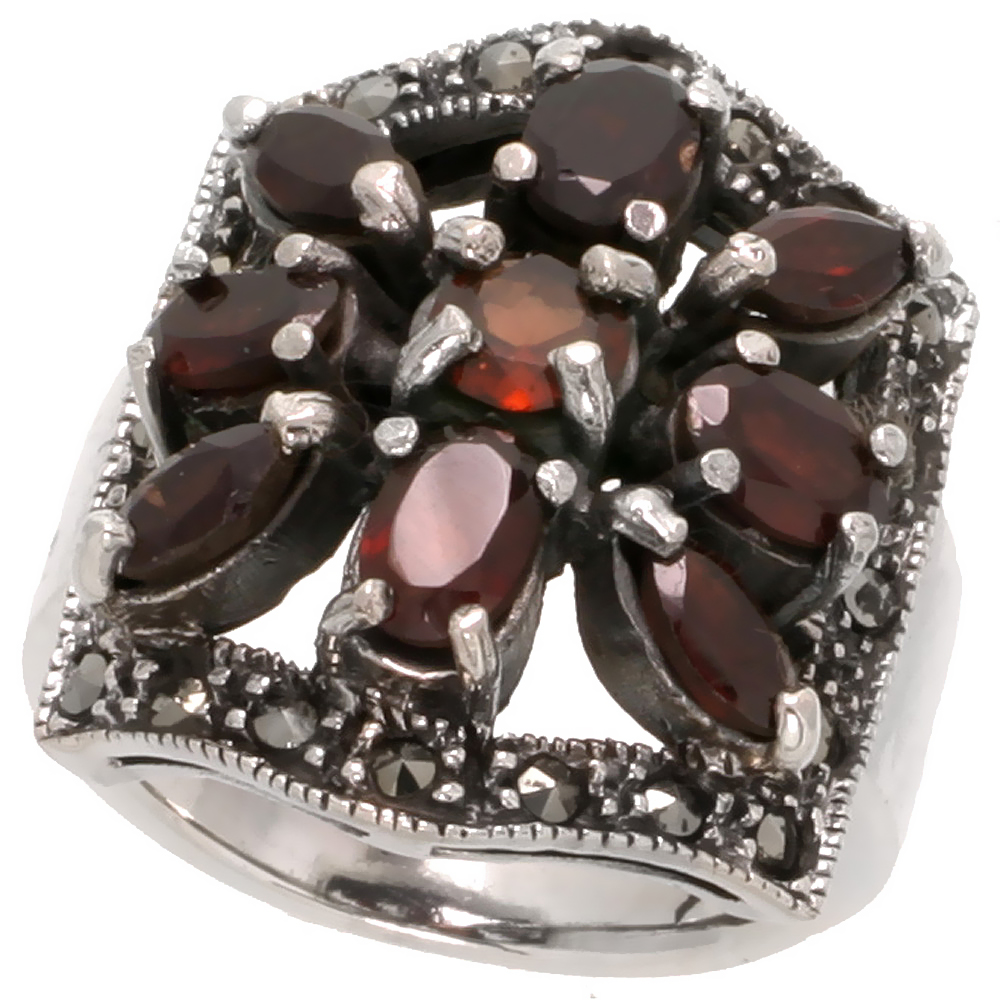 "Sterling Silver Marcasite Floral Ring W/ Brilliant, Oval & Natural Garnet, 15/16"" (23 mm) wide"