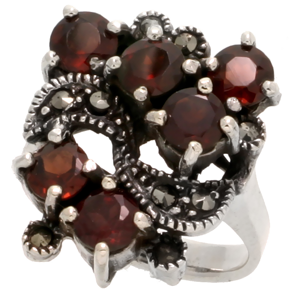 "Sterling Silver Marcasite Freeform Ring, w/ Brilliant Cut Natural Garnet, 7/8"" (22 mm) wide"