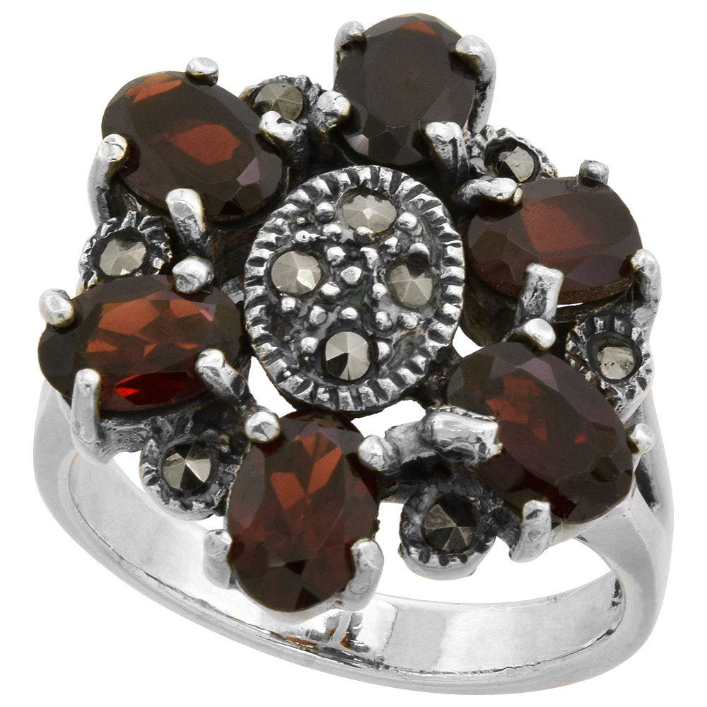 "Sterling Silver Marcasite Flower Ring, w/ Oval Cut Natural Garnet, 13/16"" (21 mm) wide"