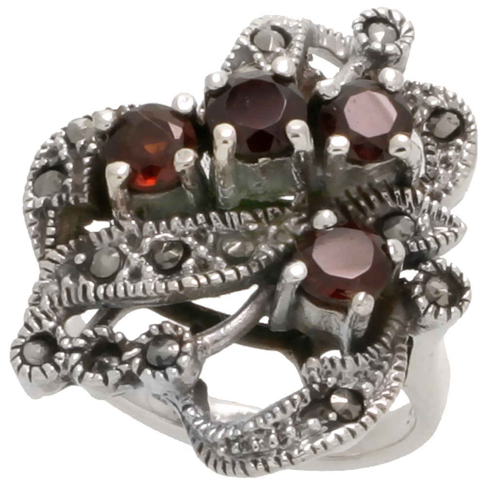 "Sterling Silver Marcasite Floral Ring, w/ Brilliant Cut Natural Garnet, 15/16"" (24 mm) wide"