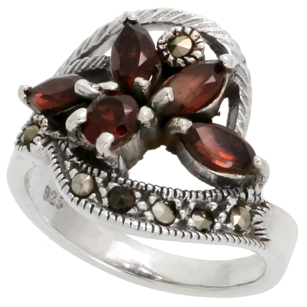 "Sterling Silver Marcasite Swirl Ring, w/ Brilliant & Natural Garnet, 3/4"" (19 mm) wide"