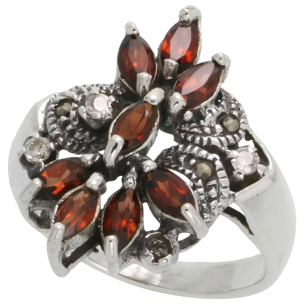 "Sterling Silver Marcasite Flower Ring, w/ Natural Garnet & Clear CZ Stones, 15/16"" (24 mm) wide"