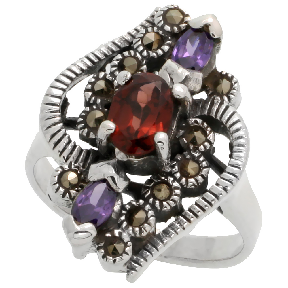 "Sterling Silver Marcasite Freeform Ring, w/ Natural Garnet & Pear-shape Amethyst CZ, 15/16"" (24 mm) wide"