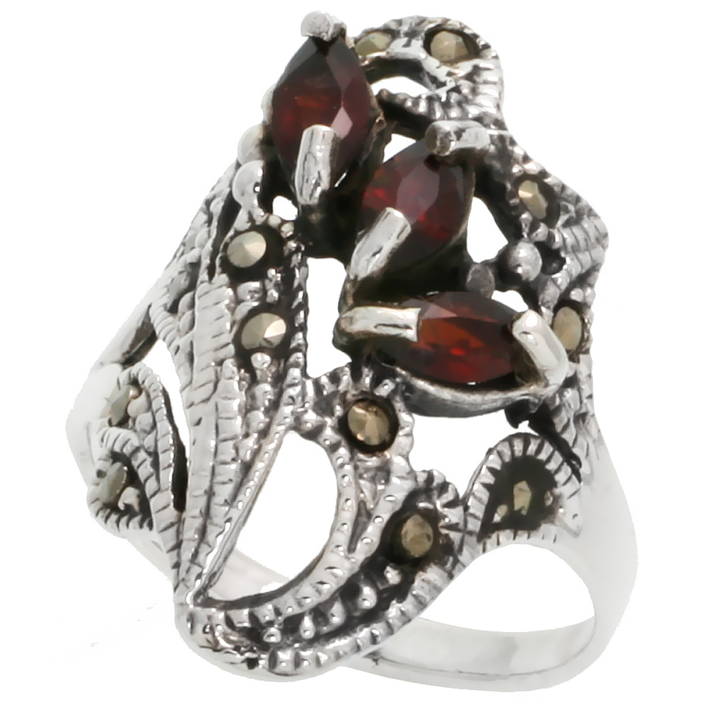 "Sterling Silver Marcasite Freeform Ring, w/ Natural Garnet, 1"" (25 mm) wide"