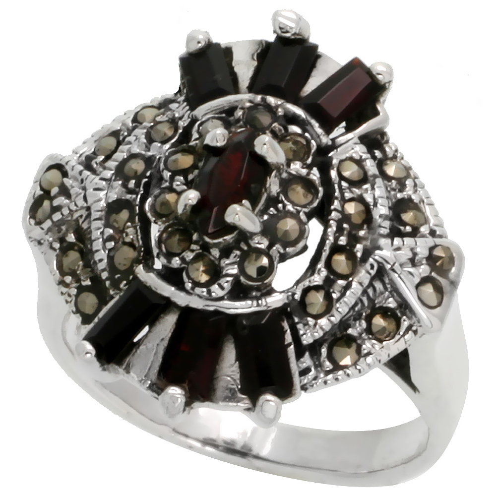 "Sterling Silver Marcasite Oval-shaped Ring, w/ Baguette Natural Garnet, 15/16"" (24 mm) wide"