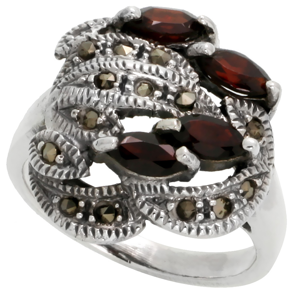 "Sterling Silver Marcasite Freeform Ring, w/ Natural Garnet, 3/4"" (19 mm) wide"