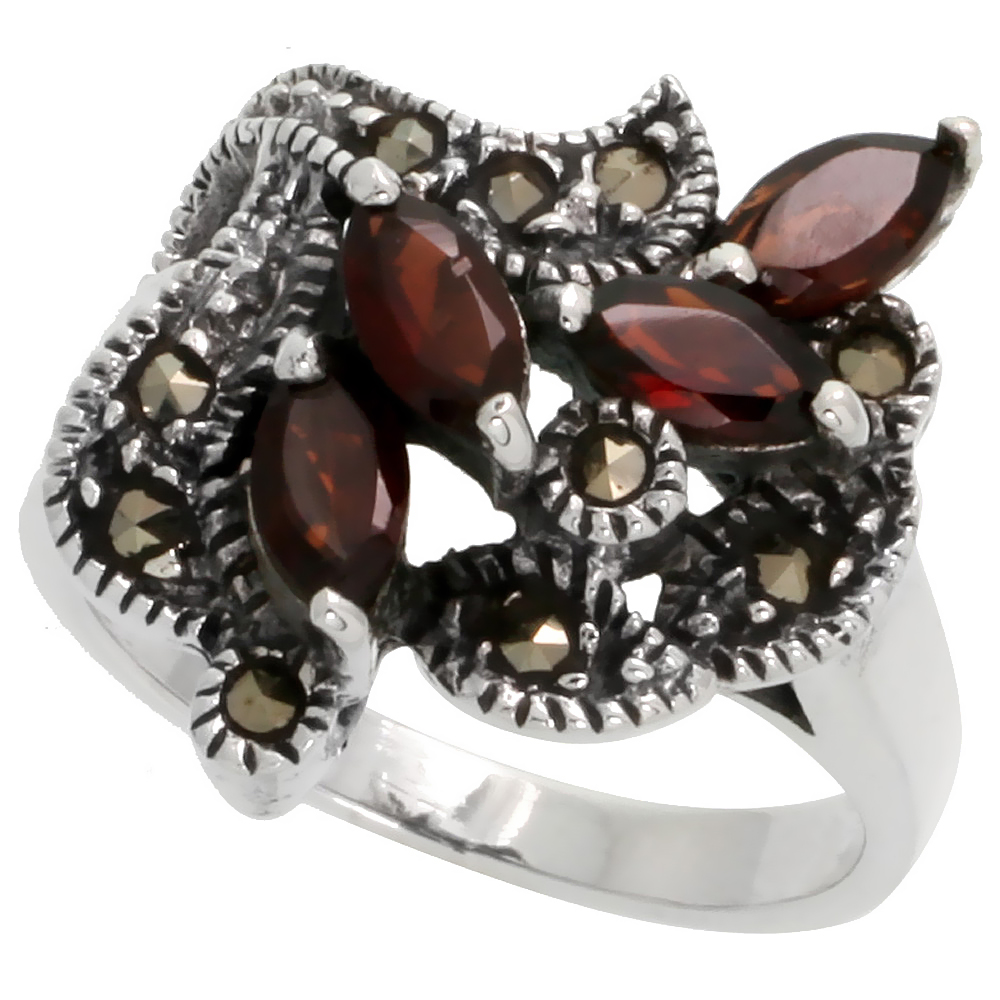 "Sterling Silver Marcasite Freeform Ring, w/ Natural Garnet, 7/8"" (22 mm) wide"
